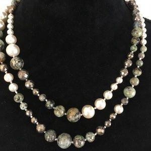 Lulu Frost Pearl, Bronze & Jade 20 Inch Necklace